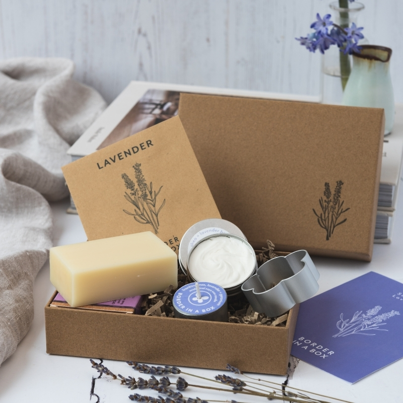 lavender gift box  with seeds cookie cutter body butter tealight