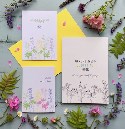 mindfullness colouring book wildflower seeds card sunshine letterbox gift