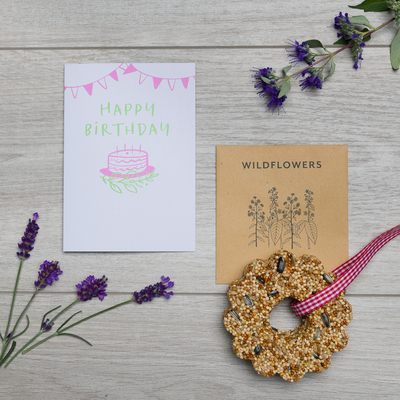 happy birthday card wildflower seeds bird seed cake