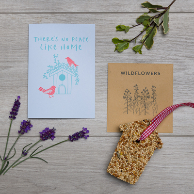 new home card wildflower seeds bird seed cake house shape