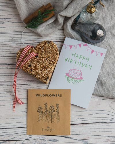 happy birthday card wildflower seeds bird feeder