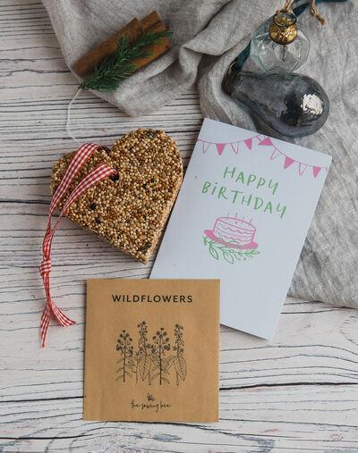 happy birthday card wildflower seeds bird feeder