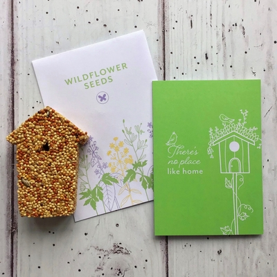 New Home card wildflower seeds bird seed feeder