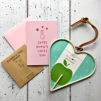 pink card bunny seeds metal bird feeder