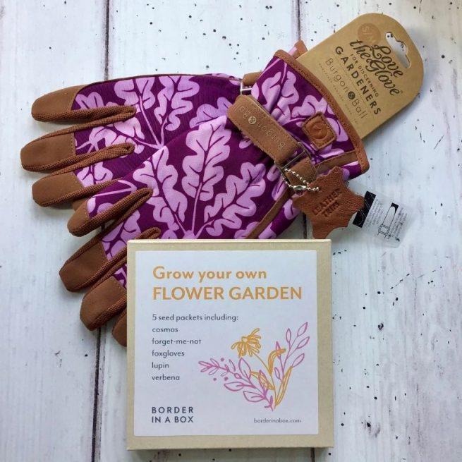 ladies purple gardening gloves flower seed kit