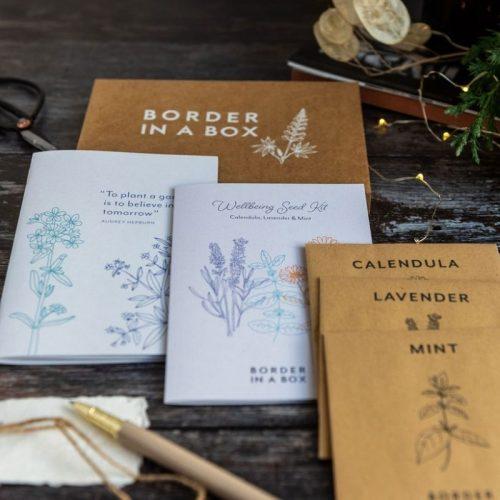 wellbeing seed kit mint calendular lavender seeds notebook