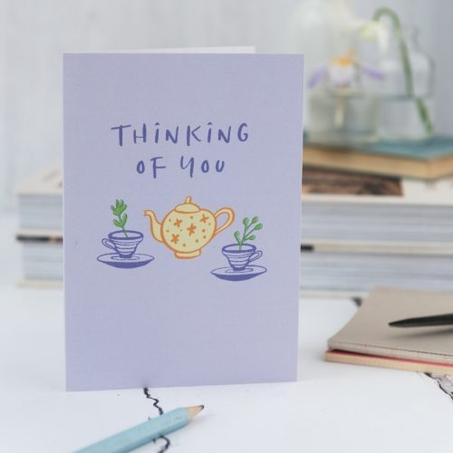 Thinking of you card with teapot and cups and saucer illustrations