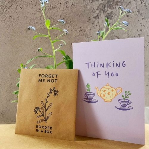 thinking of you card forget me not seed packet